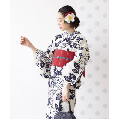 【ふりふ】 浴衣「注染 菊」 / 夏・花火・祭・納涼船・夕涼み レディース ホワイト FREE FURIFU