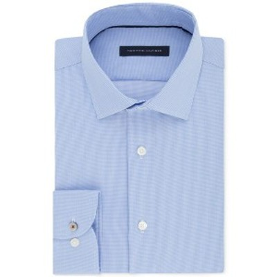 トミー ヒルフィガー メンズ シャツ トップス Men's Slim-Fit Non-Iron Performance Stretch Check Dress Shirt Stream