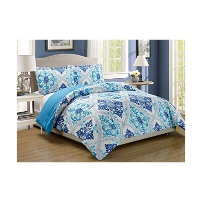 King Navy Blue/Turquoise  3Piece Fine printed Abstract Duvet Cover Set KING