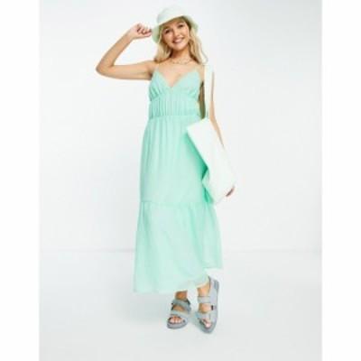 ピンキー Pimkie レディース ワンピース Vネック マキシ丈 ワンピース・ドレス V Neck Strappy Maxi Smock Dress In Green グリーン