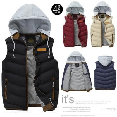 送料無料メンズ 中綿ベスト 中綿ジャケット ジャンパー パーカ アウター 軽量 フード付き 大きいサイズ 3XL 4色全 冬新作