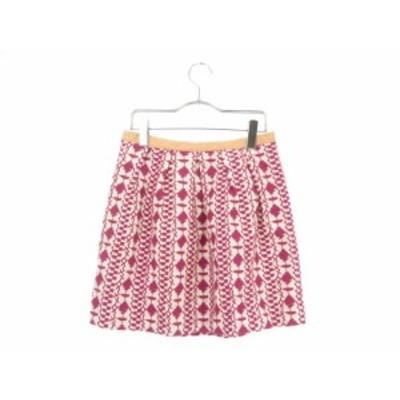 【中古】チェスティ Chesty スカート ミニ フレア 刺繍 0 ピンク amy レディース