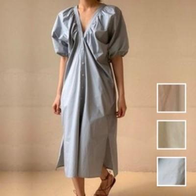 韓国 ファッション レディース ワンピース 夏 春 カジュアル naloI709  ゆったり ギャザーディテール 袖コンシャス シンプル コーデ 定番