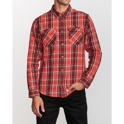 シャツ ブラウス RVCA メンズ THAT'LL WORK FLANNEL LONG SLEEVE SHIRT ロングスリーブシャツ/ルーカ チェッ