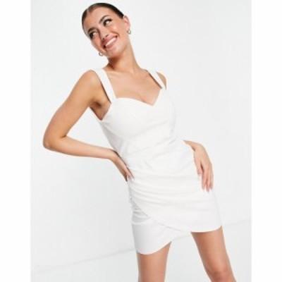 エイソス ASOS DESIGN レディース ワンピース コルセット ラップドレス ミニ丈 bonded linen corset seamed wrap mini dress in ivory ア
