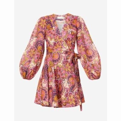ジマーマン ZIMMERMANN レディース ワンピース ミニ丈 ワンピース・ドレス Fiesta floral-print linen mini dress Pink Paisley