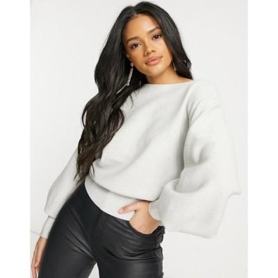 パラレルライン図 レディース ニット&セーター アウター Parallel Lines sweater with balloon sleeves in gray Grey