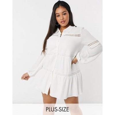 イン ザ スタイル プラス レディース ワンピース トップス In The Style Plus x Lorna Luxe bell sleeve shirt dress with cotton trim in cream Cream