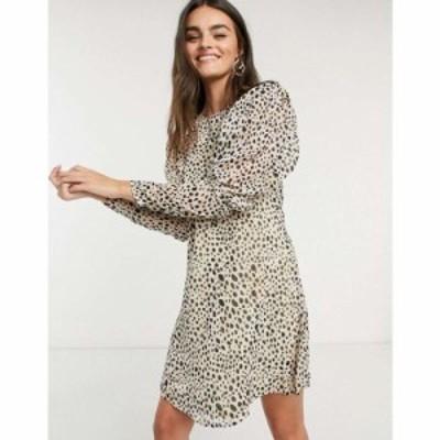 ヴィラ Vila レディース ワンピース ミニ丈 ワンピース・ドレス mini dress with puff sleeves in spot print スポットプリント