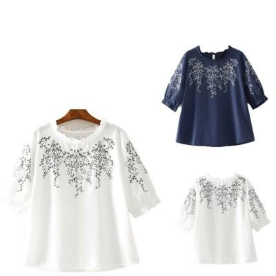 綿麻半袖Tシャツブラウスエスニック風リネンプルオーバー森ガール風カジュアルトップス大人エレガント 花刺繍可愛いきれいめ二点送料無料