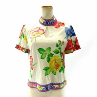 【中古】レオナール LEONARD カットソー Tシャツ 半袖 ボトルネック 花柄 ベージュ ピンク M IBS91 レディース