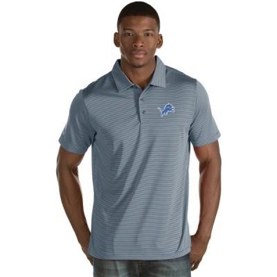 アンティグア ポロシャツ トップス メンズ Antigua Men's Detroit Lions Quest Polo Shirt Dark Gray/White