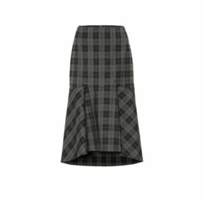 バレンシアガ Balenciaga レディース ひざ丈スカート スカート Checked wool-blend midi skirt Antracite