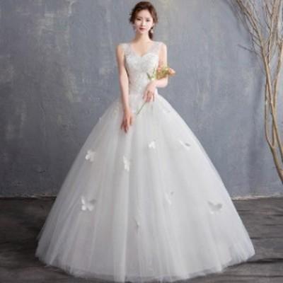 激安 ウェディングドレス 白 刺繍 ノースリーブ 結婚式 フォーマルドレス 20代 30代 花嫁 披露宴ドレスロング丈 Vネック ホワイトドレス