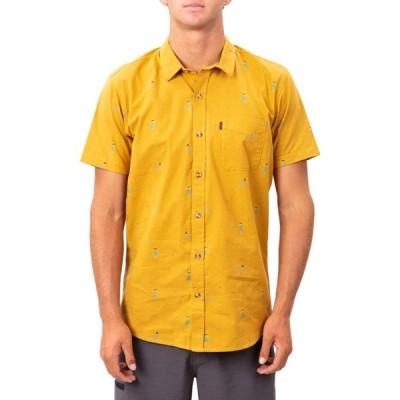 リップカール RIP CURL メンズ 半袖シャツ トップス Hula Print Short Sleeve Button-Up Shirt Mustard