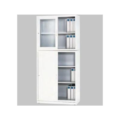 送料無料 ホワイト色YS引違書庫/上下セットスチール引戸書棚/鍵付 YS メーカー品 完成品 オフィス家具/スチール収納
