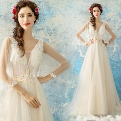 花柄 ブライダルドレス ウェディングドレス 花嫁 上品 結婚式 お呼ばれ カジュアル ロングドレス レース 豪華 ベアトップ