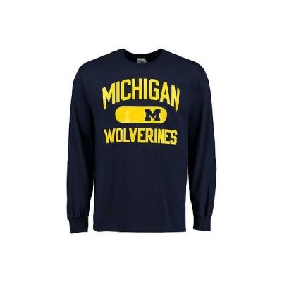カレッジ NCAA アメリカ USA 大学 スポーツ ファナティックス ブランデッド Michigan Wolverines ネイビー アスレチック Issued 長袖 Tシャツ