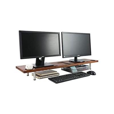 TQVAI 竹製40.9インチ 大型デュアルモニタースタンドライザー PCコンピュータースクリーンスピーカーシェルフ - TV、ノートパソコン、PCコ好評販売中
