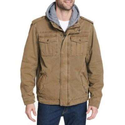 リーバイス メンズ ジャケット・ブルゾン アウター Levi'sR Twill Hooded Military Trucker Jacket Khaki