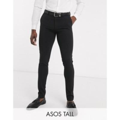 エイソス メンズ カジュアルパンツ ボトムス ASOS DESIGN Tall super skinny smart pants in black Black