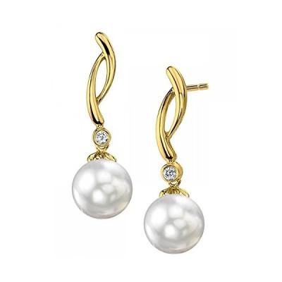 14K ゴールド 9mm ホワイト サウス シー Cultured パール & ダイヤモンド マディソン Earrings(海外取寄せ品)