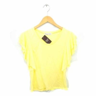 【中古】Paradaise Picnic タグ付き Tシャツ カットソー  丸首 フリル 無地 半袖 F 黄 イエロー /TT36 レディース 【ベクトル 古着】