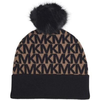 マイケル コース MICHAEL Michael Kors レディース ニット 帽子 All Over Logo Pompom Hat D Camel/Blk