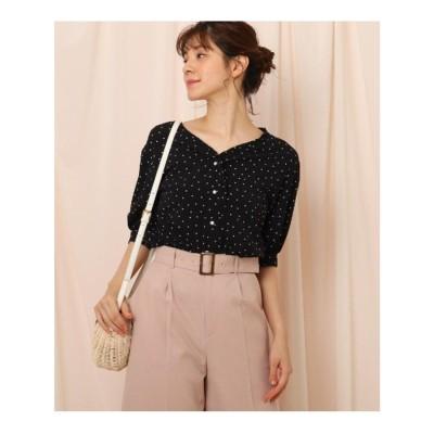 クチュール ブローチ Couture brooch 【洗える】パール調ボタンドットフリルブラウス (ブラック)