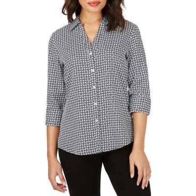 フォックスクラフト レディース シャツ トップス Mary Status Geometric Print Non-Iron Shirt BLACK