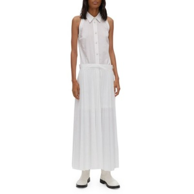 ヘルムート ラング レディース ワンピース トップス Sleeveless Pleated Cotton-Blend Shirtdress
