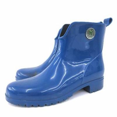 【中古】ミッソーニ MISSONI ショートブーツ レインブーツ ラバーブーツ 雨靴 イタリア製 38 25?p ブルー レディース