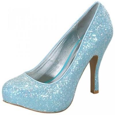 キューピッド レディース パンプス Qupid Classic Princess Glitter Pumps Qutrench-95 Lite Blue