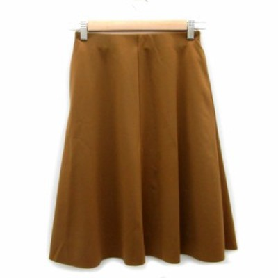 【中古】エムズセレクト m's select スカート フレア ひざ丈 34 ブラウン 茶色 /MS42 レディース