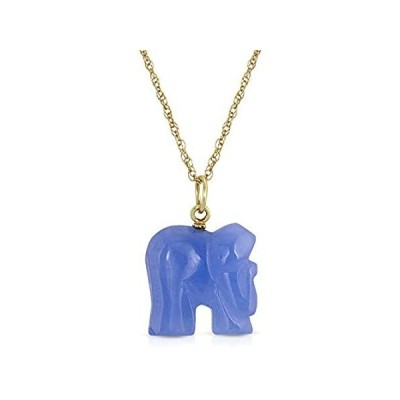 14K Yellow Gold Dainty Blue Jade Elephant Pendant Necklace