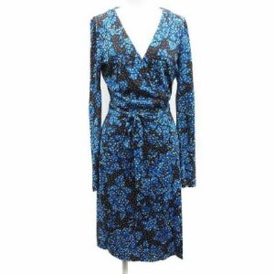 【中古】ダイアンフォンファステンバーグ 17SS ラップドレス ひざ丈 長袖 カシュクール 絹 2 M 青 黒 レディース