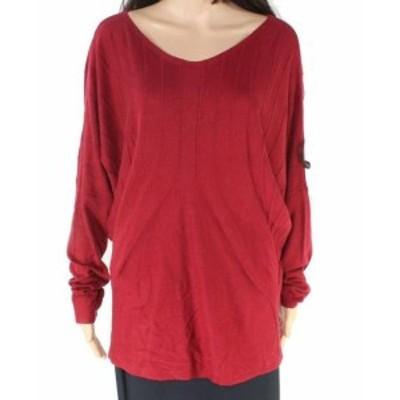 Red  ファッション トップス Studio M Garnet Red Womens XL Dolman Sleeve Scoop Neck Sweater