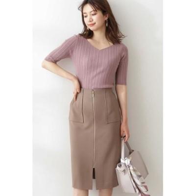 PROPORTION BODY DRESSING/プロポーションボディドレッシング  フロントファスナータイトスカート カーキ 1