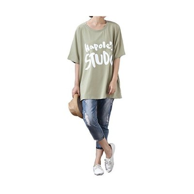 Veamor ロゴ 薄手 半袖 ロング丈 トップス Tシャツ カットソー シャツ 英字 プリント ゆったり