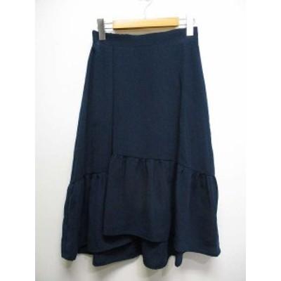 【中古】未使用 ロペピクニック ROPE Picnic フィッシュテール スカート 38 紺ネイビー バックゴム 裏地付 レディース