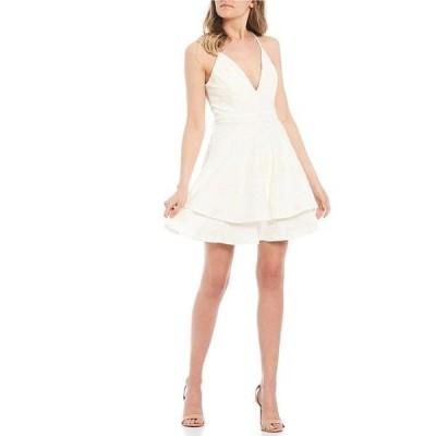 ハニーアンドロージー レディース ワンピース トップス Spaghetti Strap Bra-Back Eyelash Double Hem Fit & Flare Dress