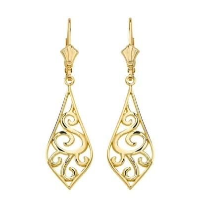Solid 14k Yellow Gold Filigree Rattan & Leaf Design Dangle Earrings (1