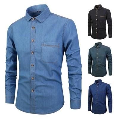 デニムシャツ メンズ 長袖 カジュアル 綿 ウォッシュ加工 カジュアルシャツ デニム 新作 トップス