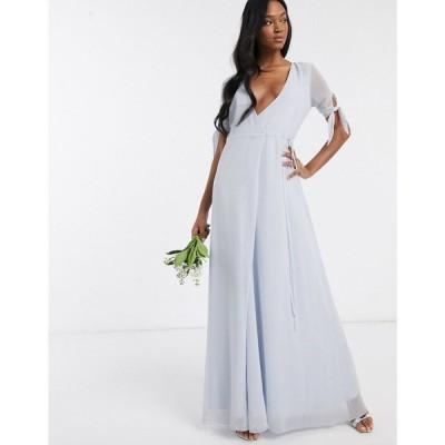 メイドトゥーメジャー Maids to Measure レディース ワンピース ラップドレス マキシ丈 ワンピース・ドレス bridesmaid wrap maxi dress ホワイト