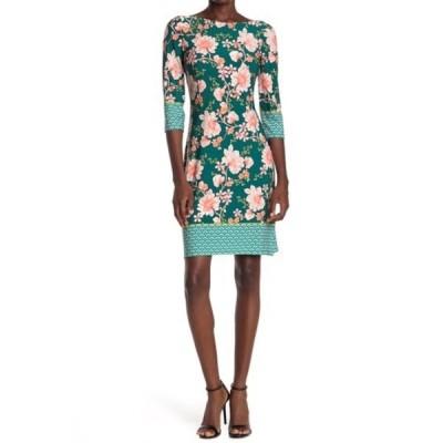 ロンドンタイムス レディース ワンピース トップス Floral Jersey Sheath Dress TEAL/PEACH