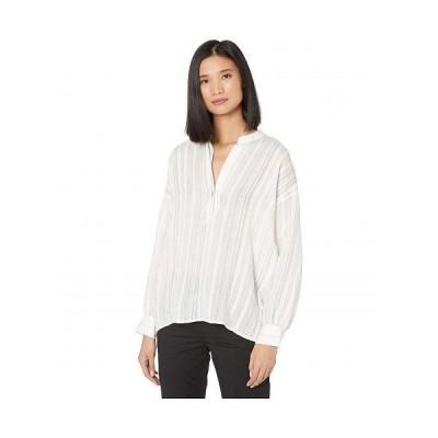 Vince ヴィンス レディース 女性用 ファッション ブラウス Drapey Stripe Pullover Shirt - Optic White 1