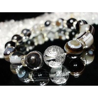 天然石厳選天眼石本水晶昇竜銀箔手彫り約14ミリロンデル数珠