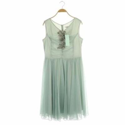 【中古】未使用品 トッカ VILLA ドレス ワンピース チュール ロング ノースリーブ フレア 6 緑 ミント レディース