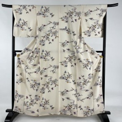 小紋 美品 秀品 花鳥 網干 縮緬 クリーム 袷 162.5cm 67cm M 正絹 中古