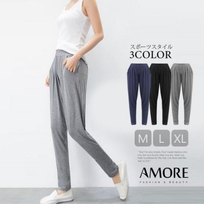 【Amore女裝】夏日超彈性寬鬆休閒哈倫褲